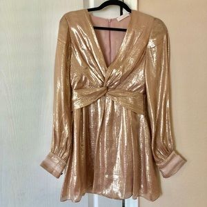 Ramy Brook Silk Mini Dress with Metallic Threading